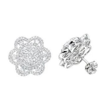14K Gold Unique Flower Ladies Diamond Cluster Stud Earrings 2.2ctw G-H Color by Luxurman (White)