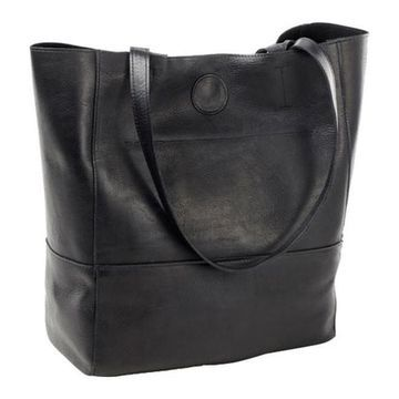 CLAVA Women's Vertical Leather Kate Tote Black - US Women's One Size (Size None)