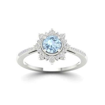 Imperial Gemstone 10K White Gold Aquamarine 1/10 CT TW Diamond Flower Burst Women's Ring