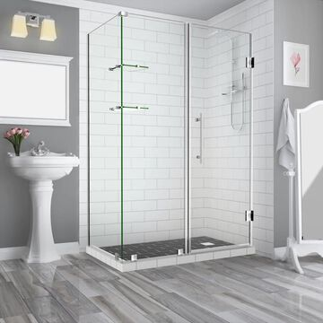 Aston Bromley GS 72-in H x 69-1/4-in to 70-1/4-in W Frameless Hinged Shower Door (Clear Glass) Stainless Steel   SEN962EZSS70323010