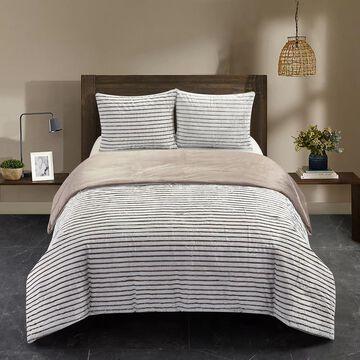 Dearfoams Drydon Waffle Plush Comforter Set with Sherpa Reverse