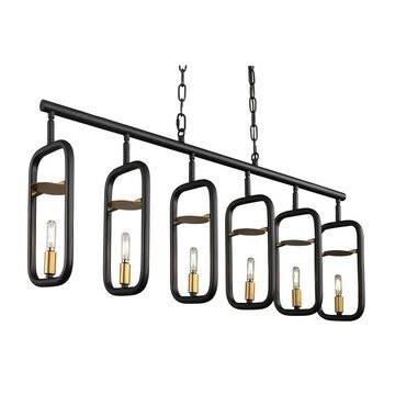 Varaluz Bar None 6-light Aged Gold and Rustic Bronze Linear Pendant (Gold)