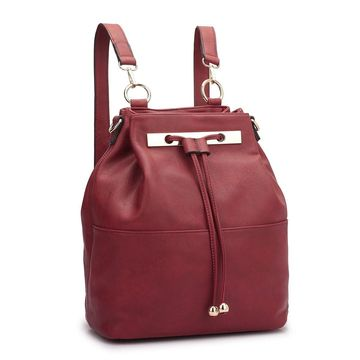 Dasein Faux Leather Convertible Drawstring Bucket and Backpack