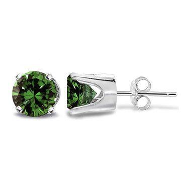 DB Designs 14k Gold 1/2ct TDW Green Diamond Round Stud Earrings