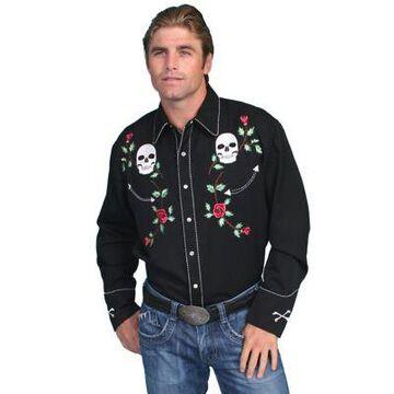 Scully Legends Men's Poly/Rayon Blend Snap Front Shirt, P-771-BLK-L