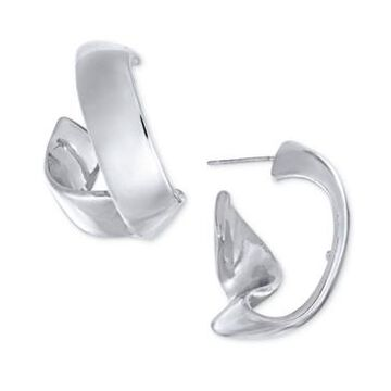 Alfani Silver-Tone Sculpted Wave Hoop Earrings, Created For Macy's