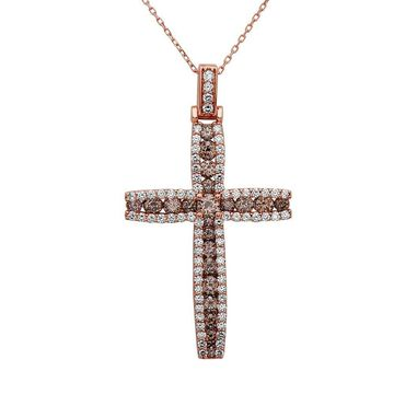 Noray Designs 14k Rose Gold Champagne 3 2/5ct TDW White Diamond Cross Pendant