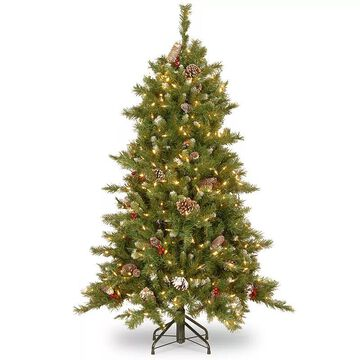 National Tree Company 6.5-ft. Frosted Berry Hinged Pre-Lit Artificial Christmas Tree, Green