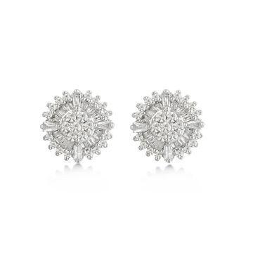 Divina Sterling Silver 1/2ct TDW Diamond Cluster Stud Earrings