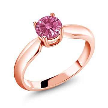 0.84 Ct Red 925 Rose Gold Plated Silver Ring Made With Swarovski Zirconia