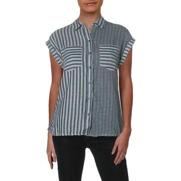William Rast Womens Button-Down Top Striped Short Sleeves - XXS