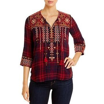 Johnny Was Eztia Nomad Embroidered Plaid Top