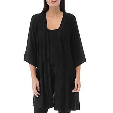B Collection by Bobeau Ribbed Open-Front Cardigan