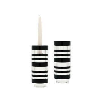 Lazy Susan Sliced Tuxedo Crystal Candleholder, Small, Set Of 2
