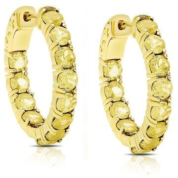 Dolce Giavonna Gold Over Sterling Silver Citrine Hoop Earrings