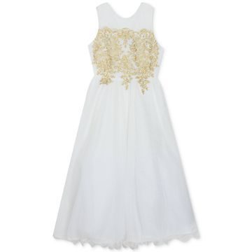 Big Girls Embroidered Ball Gown