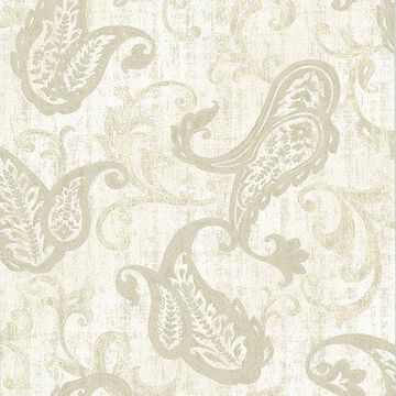 Kenneth James Darro Taupe Global Paisley Wallpaper