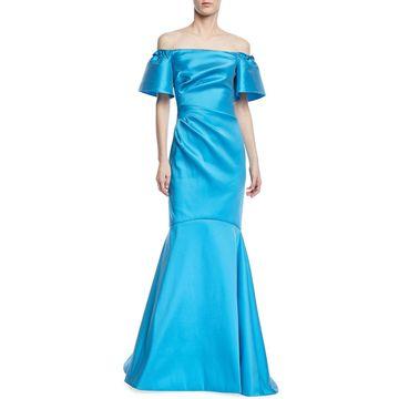 Off-the-Shoulder Metallic Super Stretch Trumpet Gown
