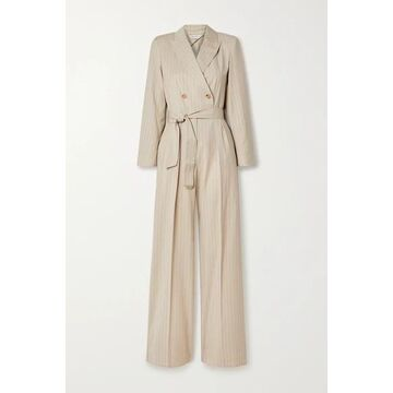 Max Mara - Diana Double-breasted Belted Pinstriped Wool-twill Jumpsuit - Sand