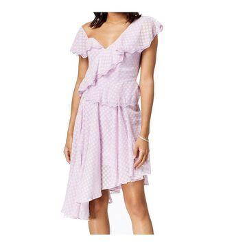 Bardot Purple Womens Size 6 Ruffled Asymmetrical Shift Dress