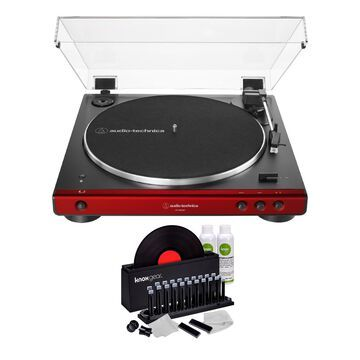Audio-Technica AT-LP60XBT Bluetooth Turntable (Red) with Knox Vinyl Cleaning Kit