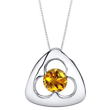 Oravo Citrine Sterling Silver Trinity Knot Pendant Necklace - Yellow