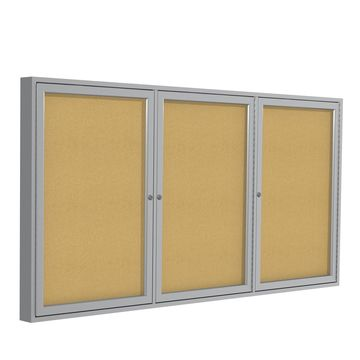 Ghent 3 Door Enclosed Natural Cork Bulletin Board with Satin Frame 3H x 6W