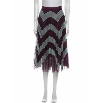 Striped Midi Length Skirt Purple