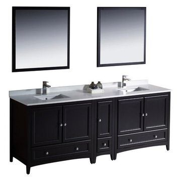 Fresca Oxford Double Sink Vanity With Side Cabinet, Espresso, 84