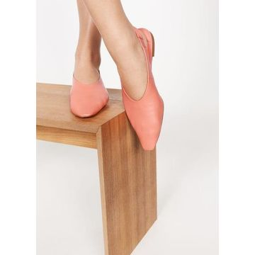 Violeta BY MANGO - Slingback leather shoes coral red - 9 - Plus sizes