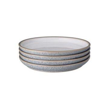 Denby Studio Craft Grey/White 4 Piece Medium Coupe Plate Set