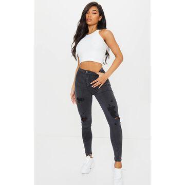 PrettyLittleThingWashed Black Distressed Disco Skinny Jean