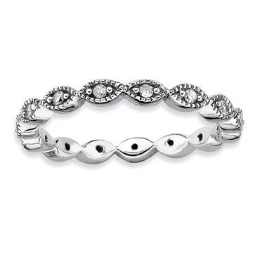 Versil Sterling Silver Diamond Ring