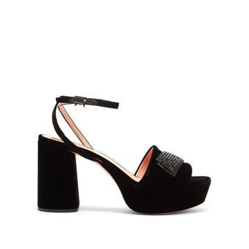 Rochas - Crystal-embellished Velvet Platform Sandals - Womens - Black