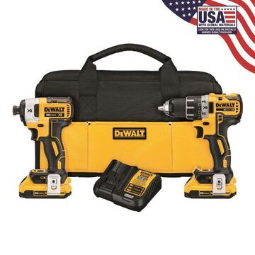 DEWALT XR 2-Tool 20V MAX LI-ION Cordless Brushless Drill/Driver + Impact Driver Combo Kit with Soft Case (Charger Included and (2) 2.0Ah Batteries
