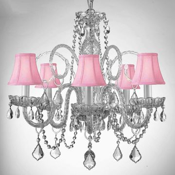 Gallery Style Crystal Chandelier with Shades