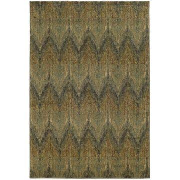 Style Haven Blue/Beige Chevron Ikat Indoor/Outdoor Area Rug (6'7 x 9'6) - 6'7
