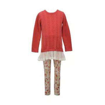 Bonnie Jean Girls' Girls 4-6X Long Sleeve Sweater And Printed Legging Set - -