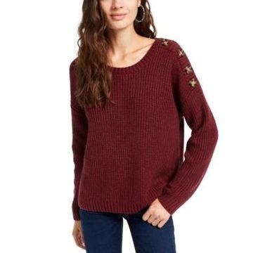 Hippie Rose Juniors' Button-Shoulder Sweater