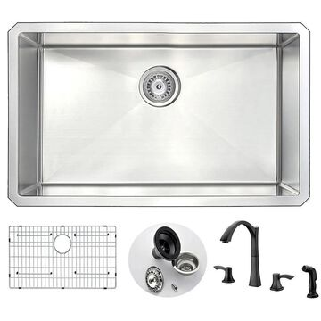 """ANZZI Vanguard 30"""" Undermount Single Bowl Kitchen Sink with Bronze Soave Faucet"""