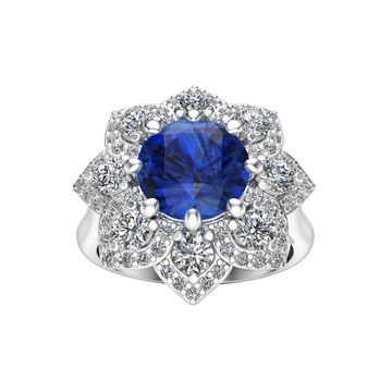 Noray Designs 14k White Gold Sapphire and 7/8ct TDW Diamond Engagement Ring