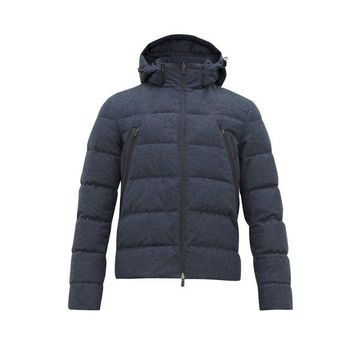 Herno - Laminar Houndstooth Quilted-down Jacket - Mens - Navy Multi