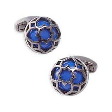 Egara Gunmetal & Blue Geometric Cufflinks