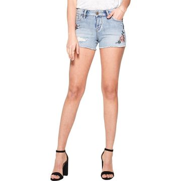Silver Jeans Co. Womens Aiko Denim Shorts Embroidered Distressed