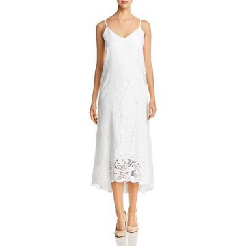 Lafayette 148 New York Womens Dominique Linen Eyelet Midi Dress