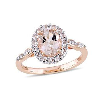 Tangelo 1-3/4 Carat T.G.W. Morganite, White Topaz and Diamond-Accent 14kt Rose Gold Vintage Ring