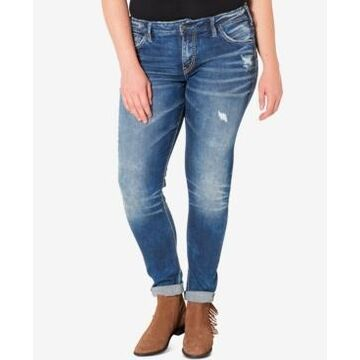 Silver Jeans Co. Plus Size Indigo Wash Ripped Girlfriend Jeans