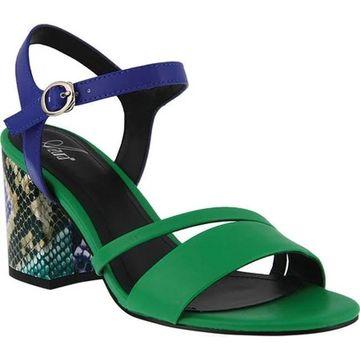 Azura Women's Kleora Vegan Heeled Sandal Green Snake Print Vegan