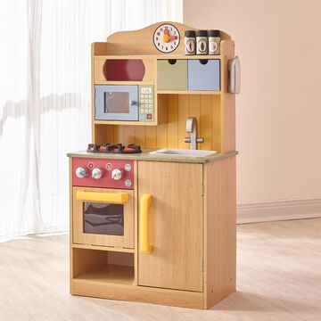 Teamson Kids- Little Chef Burlywood Play Kitchen with Accessories