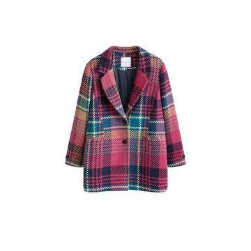 Violeta BY MANGO - Textured wool-blend coat fuchsia - XL - Plus sizes